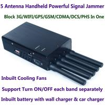 Quality 5 Antenna Portable High Power Handheld Cell Phone GSM CDMA DCS PHS 3G 4G LTE WiMax Signal Jammer Blocker W/ 20M Radius for sale