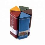 China Food Grade Ink Triangle Irregular Tea Tin Can Metal Tinplate Long Lifespan for sale
