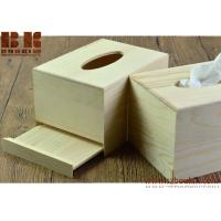 Quality Eco-friendly unfinished Rectangle wooden napkin box napkin container tissue organizer for sale