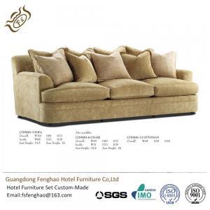 Contemporary Khaki Color 3 Seater Fabric Sofa High Density Sponge Cushion For Hotel Lobby
