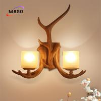 MASO Retro Antler Wall Sconce Lamp CE Standard Resin Material Factory Wholesale E14 Light Source for Project Installing