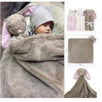 Quality Best wholesale cheap custom cute 76*76cm plush stuffed soft various type animal head toy design knitted milestone blanke for sale