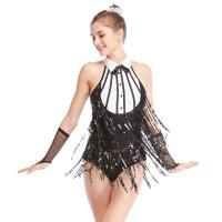 Quality Black-White Stunning Tap Costume Sequined-Fringes Mock Neck Dance Dress Performance Wear for sale