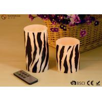 Quality Zebra Striped Flameless Wax Candles Yellow Light LED Color With Remote Control for sale