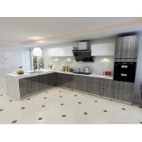 Quality Environmental Friendly Particle Board Kitchen Cabinets With Artificial Stone Countertops for sale