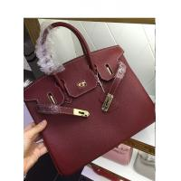 Quality hot sell 30cm 35cm high quality wine red ladies litchi leather handbags classic brand handbags L-RB1-15 for sale