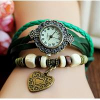 Quality Love Heart Shape Charms Braided Leather Ladies Quartz Bracelet Watch China Movement for sale