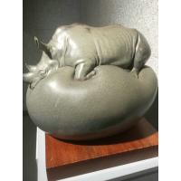 China Rhinoceros Shaped Fiberglass Animal Sculptures Size Customized For Indoor Decor on sale