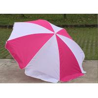 Quality Foldable Pink And White Outdoor Sun Umbrellas Nylon Material With Steel Frame for sale
