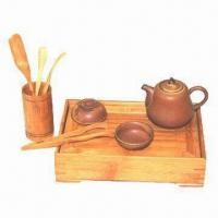 China Ceramic Tea Set with Bamboo Tea Tray, Classical and Fashionable Style on sale
