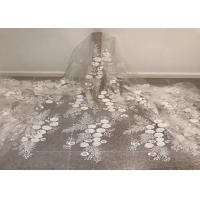 "Off White Mesh 3D Flower Embroidery Beaded Lace Fabric 50"" Wide 1 Yard"