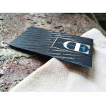 China High Quality Foil Stamped Business Card On Black Velvet Paper Blue Foil Edge Card for sale