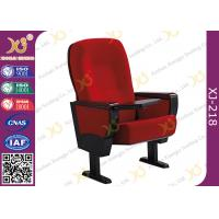 Solid Rubber Wood Armrest Audience Seating Chairs Fire Retardant Fabric