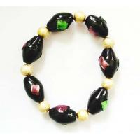 China Art Lampwork Glass Bead Bracelets Elastic With Silver Tinsel For Women on sale