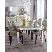Quality Luxury Mirrored Dining Table With Grey Wooden Chair  8 Person Seats for sale