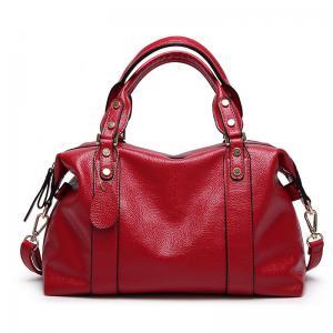 Quality Red Ladies Real Leather Handbags38*29*13 Cm Adjustable Shoulder Strap for sale