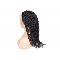 Quality #1B natural black lace front wig,deep curly lace wig human hair for sale