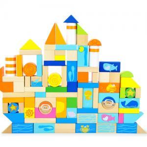Quality Creative Thinking Ocean Scene / Whale / Wheel Safe Round Children Wooden Building Blocks for sale