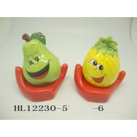Quality Funny Ceramic Piggy Bank Money Box Fruit And Vegetable Shaped With Base for sale