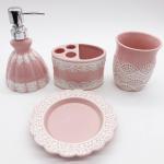 Quality Pink Lace Dress Ceramic Bathroom Set / Soap Lotion Dispenser SetDish Brush Holder for sale