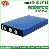 Quality Rechargeable high power prismatic 3.2V 60Ah lifepo4 battery cell for ev, storage for sale