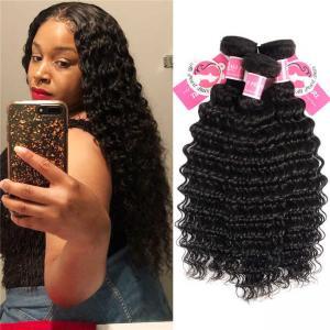 Quality Deep Wave Peruvian Human Hair Bundles 3 Pieces Virgin Remy Hair Weave for sale