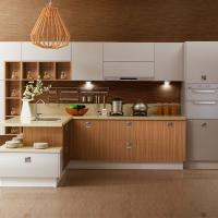 Painting White Solid Wood Kitchen Cabinets With Wood Color Melamine Kithcen Doors Of