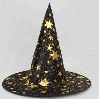 Quality Multi Color Halloween Party Crafts Knitted Fabric Wizard Hat Star Pattern for sale