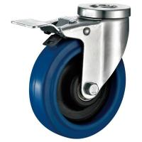 Quality Soft Elastic Rubber Industrial Caster Wheels With Locking Brake Swivel Head for sale