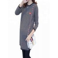 China Striped Pattern Maternity Knit Sweater Loose Fit Type Polyester / Cotton Material on sale