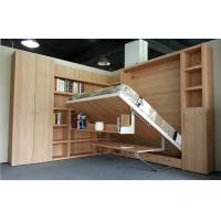 Fold down wall bed with bookshelf and table natural - Bed that folds down from wall ...