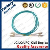 China lc-lc/upc OM3 10Gb optic fiber patch cords for structure cabling gray connectors Duplex Aqua pvc sheath jacket on sale