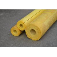Quality High Temp Glass Wool Pipe Insulation , Yellow Glasswool Pipe Cover for sale