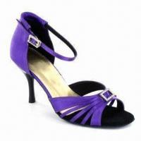 Quality Women Latin Dance Shoes, Made of Purple Satin and Decorated with Stones for sale