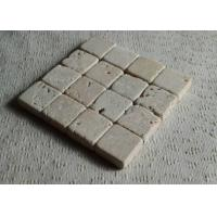 Quality Beige Natural Travertine Coasters Birthday Decoration Items Tumbled Finish for sale