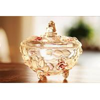 Quality Sweet Pot Glass Candy Jar Pink Plum Blossom Sugar Bowl Machine Press For Room for sale