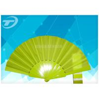 Quality Solid Color Fabric Personalized Folding Hand Fans With Plastic Handle for sale