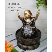 China Little Monk Resin Water Pump Fountain With Revolving Ball 13.5 X 13.5 X 18 Cm on sale