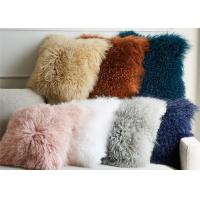 Quality Living Room 16 Inches Mongolian Fur Pillow Long Curly Hair With Micro Suede Lining for sale