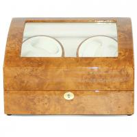 China Burlwood Finish Lockable Four Watch Winder With Storage for Six Watches on sale