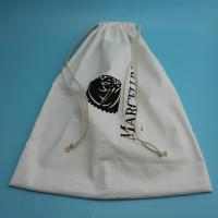 China Soft Large Dust Bag For Dresses , Embossing White Cotton Drawstring Bag on sale