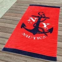 Buy 350gsm Cool Anchor Plain Beach Towel  with Red and Blue Stripe 75*140cm at wholesale prices