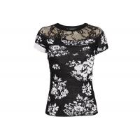 Jacquard Rose Patterns Women's Pullover Sweater With Short Sleeves Crew Neck