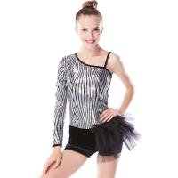 Quality Beautiful Sequins Jazz Tap Costumes Diagonal - Neck Biketard Dance Costume for sale
