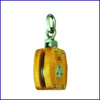 China B137 JIS Marine Wooden Block Single Sheave Pulley With Connected Link for sale