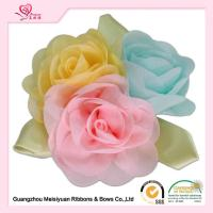 China Colorful Handmade Chiffon Flowers With Green Leaves , beautiful handmade rose flowers on sale