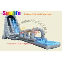 Quality inflatable water long slip and slide with a pool for sale