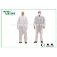 Quality Type 5 / 6 Disposable Coveralls with Hood Splash Proof SMS Chemical Coveralls for sale
