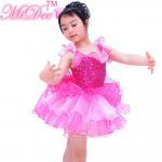 Quality Children Ballet Dancewear Ruffle Tiered Bubble Skirt Back Waist for sale