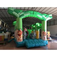Quality Size 4x4m Forest Animals Kids Inflatable Bounce House / Green Jumping Monkey Bounce Houses For Child Under 12 Years for sale